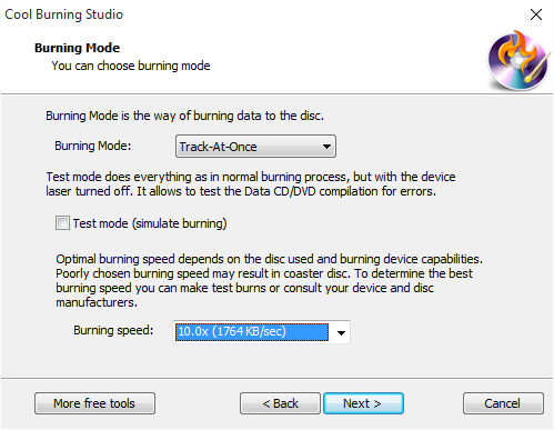 Select Burning Mode & Burning Speed