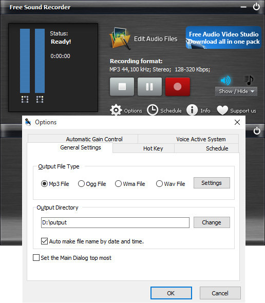 Specify Recording Options